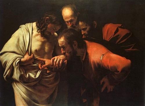 "Caravaggio [Public domain], <a href=""https://commons.wikimedia.org/wiki/File:Caravaggio_-_The_Incredulity_of_Saint_Thomas.jpg"" target=""_blank"">via Wikimedia Commons</a>"