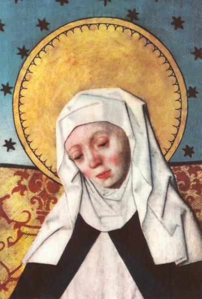 """Heliga_Birgitta_på_ett_altarskåp_i_Salems_kyrka.jpg: Hermann Rode (late 15th century)derivative work: Beao [Public domain], <a href=""""https://commons.wikimedia.org/wiki/File:Heliga_Birgitta_p%C3%A5_ett_altarsk%C3%A5p_i_Salems_kyrka_retouched.png""""  target=""""_blank"""">via Wikimedia Commons</a>"""