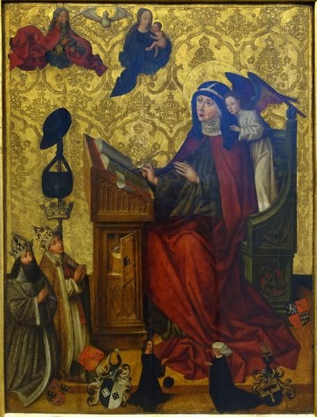"Daderot [Public domain], <a href=""https://commons.wikimedia.org/wiki/File:Saint_Birgitta_at_her_desk,_epitaph_of_Brigitte_Topler,_Nuremberg,_c._1483,_paint_on_pinewood_-_Germanisches_Nationalmuseum_-_Nuremberg,_Germany_-_DSC03249.jpg""  target=""_blank"">via Wikimedia Commons</a>"