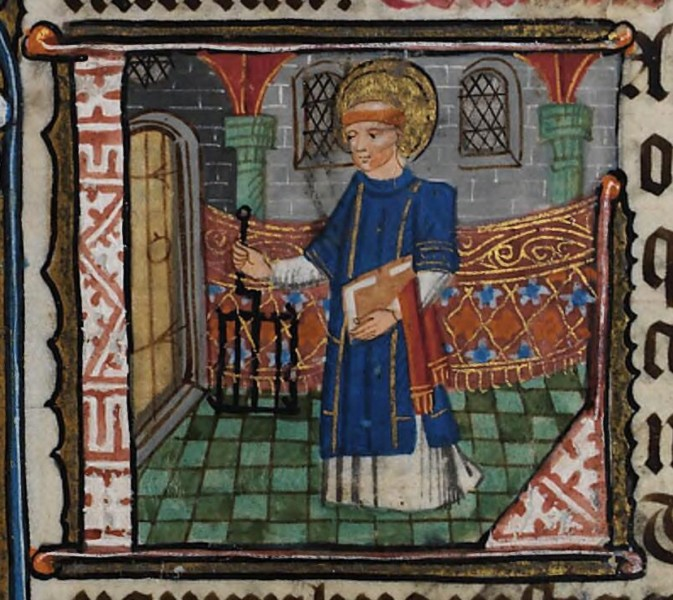 """National Library of Wales [CC0], <a href=""""https://commons.wikimedia.org/wiki/File:De_Grey_Hours_f.56.r_St._Laurence.png""""  target=""""_blank"""">via Wikimedia Commons</a>"""