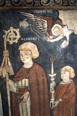 """Detail of a Romanesque mural of Saint Fructuosus at Bierge, Huesca [Public domain], <a href=""""https://commons.wikimedia.org/wiki/File:Fructuosus.JPG""""  target=""""_blank"""">via Wikimedia Commons</a>"""
