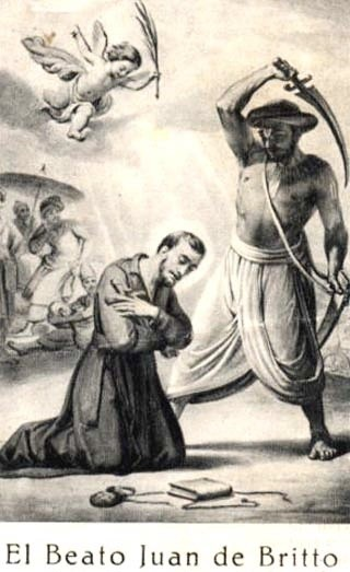 """Saint John de Britto, also known as Arul Anandar, was a Portuguese Jesuit missionary and martyr, often called 'the Portuguese St.Francis Xavier' by Indian Catholics. He can be called the John the Baptist of India.   <a href=""""https://commons.wikimedia.org/wiki/File:John_de_Britto_Hinrichtung_1.jpg"""" title=""""via Wikimedia Commons"""" target=""""_blank"""">Anonym Unknown author</a> [Public domain]"""